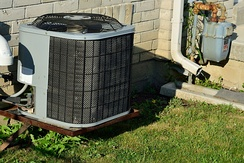 Typical residential central air conditioner in North America
