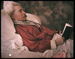 A color portrait of Mark Twain by Alvin Langdon Coburn, 1908, made by the recently introduced Autochrome process