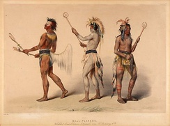 Ball players from the Choctaw and Lakota tribe as painted by George Catlin in the 1830s
