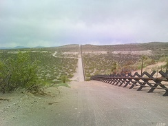 Vehicle barrier in the New Mexico desert