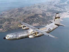Douglas C-133B-DL Cargomaster, AF Ser. No. 59-0529, of the 1501st Air Transport Wing over San Francisco Bay in 1960. This aircraft was retired in 1971 and was on display at New England Air Museum, Bradley, Connecticut (USA), but was destroyed by a tornado on 3 October 1979. Nose and other pieces now at the AMC Museum at Dover AFB, Delaware.