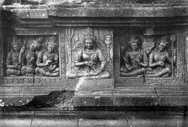 The male Lokapala devas, the guardians of the directions, on the wall of Shiva temple, Prambanan (Java, Indonesia).