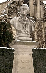Bust of Goldoni, near Notre Dame in Paris
