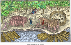 In 1609, Algonquin, Huron, and French forces under Samuel de Champlain attacked the Iroqouis in New York.