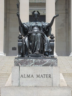 The Alma Mater statue by Daniel Chester French, at the entrance of the Columbia University in New York City.