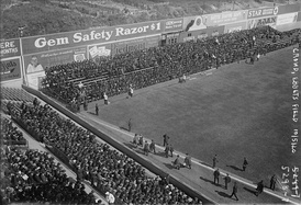 "Ebbets left field corner in 1920 World Series, with temporary bleachers sitting on the ""terrace""."
