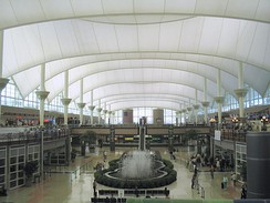 Inside the main terminal of Denver International Airport
