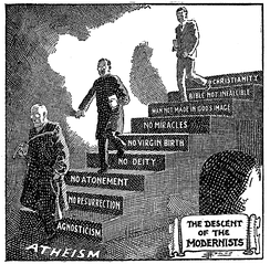 A Fundamentalist cartoon portraying Modernism as the descent from Christianity to atheism, first published in 1922 and then used in Seven Questions in Dispute by William Jennings Bryan.