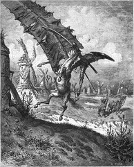 Don Quixote being struck by a windmill, illustration by Paul Gustave Louis Christophe Doré.
