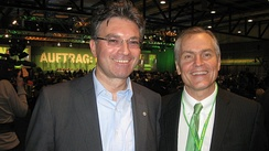 2010 Green Party convention in Freiburg, Dieter Salomon, Green Party Mayor, and Carey Campbell, Independent Green Party, USA, and National Chairman, Committee to Draft Michael Bloomberg