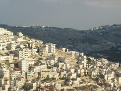 East Jerusalem, with Israeli West Bank barrier in the background