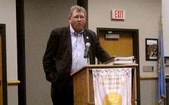 Oklahoma Congressman Frank Lucas speaks at a town hall meeting held in the Pioneer Technology Center in Ponca City, Oklahoma on September 26, 2011.