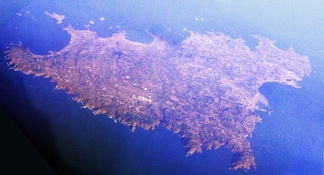 The island of Guernsey seen from 33,000 feet (10,000 m), looking north