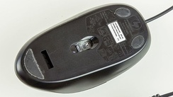 The underside of an optical mouse.