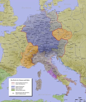 The Holy Roman Empire in the 10th century showing Bavarian marches, including Carinthia.