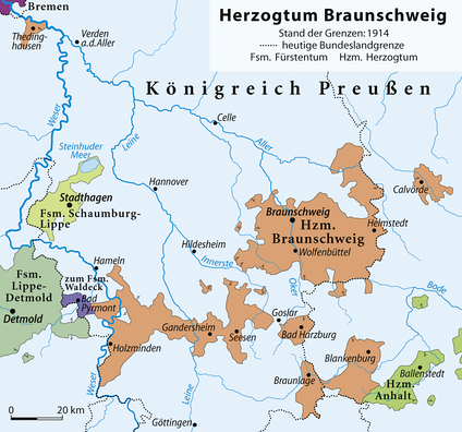 The Duchy of Brunswick (in orange) in 1914