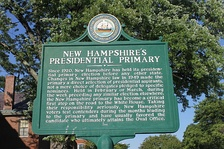 Historical marker in Concord on the significance of the New Hampshire primary