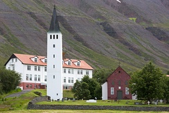The Cathedral of Hólar, and Hólar University College.