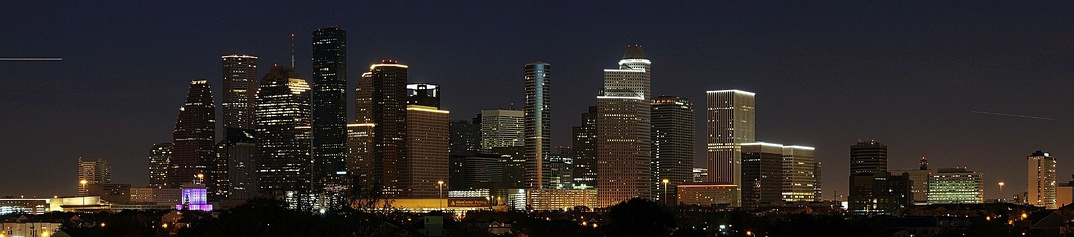Downtown Houston skyline just after sunset.