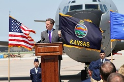 Governor Sam Brownback makes remarks at a ground breaking ceremony at McConnell Air Force Base.
