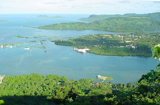 A view of Kolonia Town from Sokehs Ridge in Pohnpei.