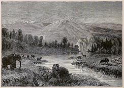19th century artist's impression of a Pliocene landscape