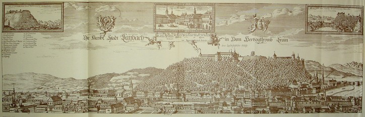 """Laybach"" (Ljubljana) in Johann Weikhard von Valvasor's work The Glory of the Duchy of Carniola of 1689"