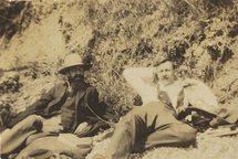 Snapshot by Ray Strachey of her brother, Lytton Strachey with Sydney Saxon-Turner, reclining at the beach