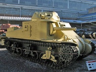 This Grant I tank's suspension has road wheels mounted on wheel trucks, or bogies.