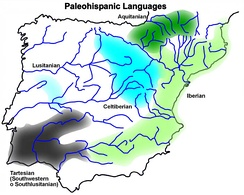Paleohispanic languages according to inscriptions (except Aquitanian – according to anthroponyms and theonyms used in Latin inscriptions)