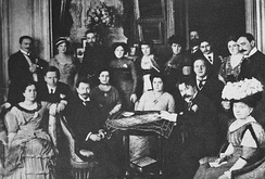 Scriabin (sitting on the left of the table) as a guest at Wladimir Metzl's home in Berlin, 1910