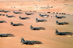 F-15Es parked during Operation Desert Shield.