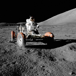 Eugene Cernan rides the Lunar Roving Vehicle during Apollo 17, December 1972