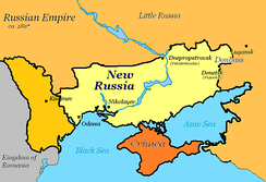 An approximate map of the extent of Novorossiya by Potemkin's death in 1791