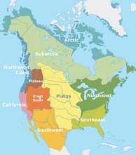 Cultural areas of North American Indigenous peoples at the time of European contact.