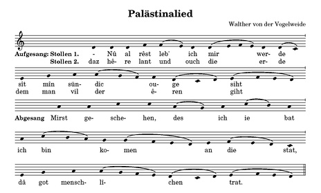 The melody of the Palästinalied from the Münster Fragment