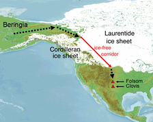 This map shows the approximate location of the ice-free corridor and specific Paleoindian sites (Clovis theory).