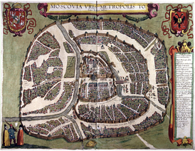 Sigizmundian Plan of Moscow, engraved in 1610, is the last city plan compiled (by the Poles) before the destruction of the city in 1612 and subsequent changes to the street network. Orientation: North is at the right, West at the top. (Moscovia urbs metropolis tutius Russiæ Albæ) - Moscow the metropolis of White Russia.