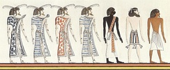 1820 drawing of a Book of Gates fresco of the tomb of Seti I, depicting (from left) four groups of people: Libyans, a Nubian, an Asiatic, and an Egyptian.