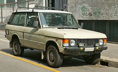 The first generation Range Rover, early two-door model fitted with the later model alloy wheels.