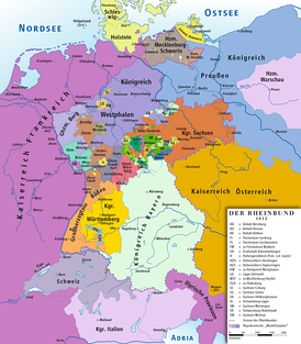 The Confederation of the Rhine, a union of client states of the First French Empire (1806 to 1813)