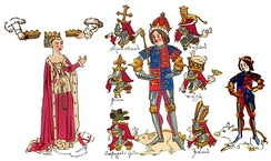 Contemporary illumination (Rous Roll, 1483) of Richard III, his queen Anne Neville, whom he married in 1472, and their son Edward the Prince of Wales