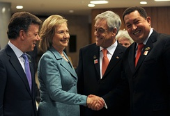 Manuel Santos, Hillary Clinton, Sebastián Piñera and Hugo Chávez meeting on 1 January 2011, Brasília