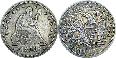 1853 Seated Liberty silver quarter, with its distinct arrows and rays.