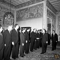 Shah visiting Bakhtiar cabinet before his exit from Iran.