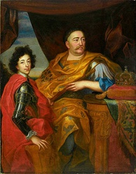 King John III Sobieski with his son Jakub, whom he tried to position to be his successor. Sobieski led the Commonwealth to its last great military victories.