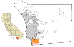 South Bay communities of San Diego County. The cities and towns of National City, Chula Vista, and Imperial Beach are in dark orange. The unincorporated community of Bonita is in light orange. San Ysidro and Otay Mesa, neighborhoods of the city of San Diego, are in pink.