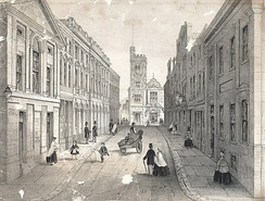 Temple street, Swansea, showing the bank, theatre and post office (1865)