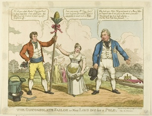 """The Disconsolate Sailor"", 1811: a cartoon by Charles Williams about Catherine Tylney-Long's choice between the Duke of Clarence (right) and William Wesley-Pole (left)"
