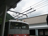 An example of a trolley pole used in Japan